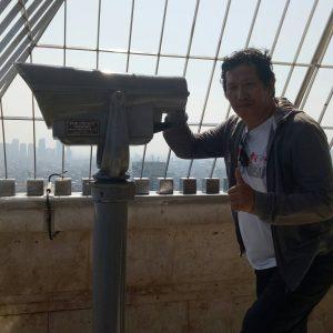 Penulis di ketinggian 115 meter Pelataran Monas (foto: enos_m/2017)