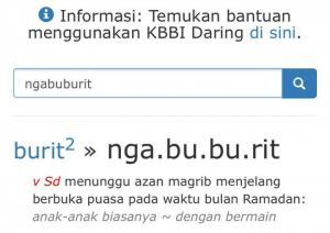 Arti Ngabuburit dalam KBBI. (foto: sc.etta/palontaraq)