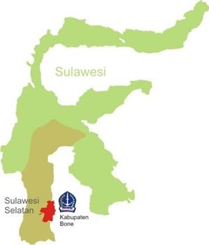 Letak Kabupaten Bone dalam Geografi Sulawesi Selatan (foto : ist/palontaraq)