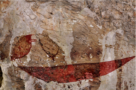 Prehistoric paintings resemble deer forms on the walls of the passenger caves.