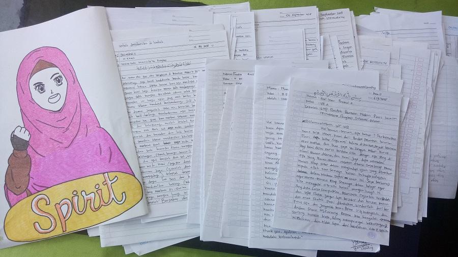 Surat dari Santri Putri IMMIM Pangkep-Sulsel untuk Pelajar Lombok. (foto: mfaridwm/palontaraq)