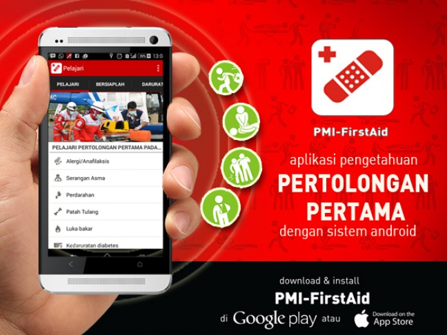 Aplikasi First Aid PMI. (foto: PMR Wira Adhi Bakti)