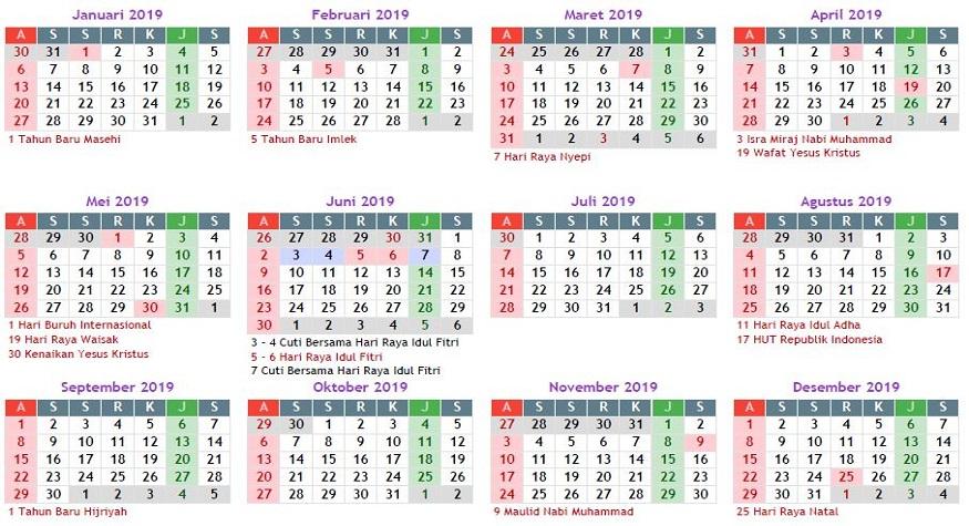 Kalender Masehi-2019 (foto: jadwalliburnasional)