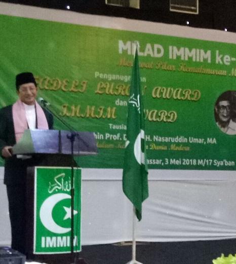 Prof DR. Nasaruddin Umar di acara Milad IMMIM. (foto: ist/palontaraq)