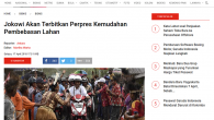 Rekam Jejak Digital Jokowi terbitkan Perpres kemudahan pembebasan lahan bagi WNA.