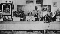 Kiri-kanan: Rajah Goa, Mangi-Mangi Karaeng Bontonompo, Raja Bone La Mappanjoeki, dan Raja Boetoeng Laode Hamidi di Makassar, 1947. Foto: KITLV.