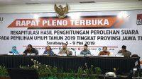 Rapat Pleno Terbuka KPU Jatim. (foto: ist/palontaraq)