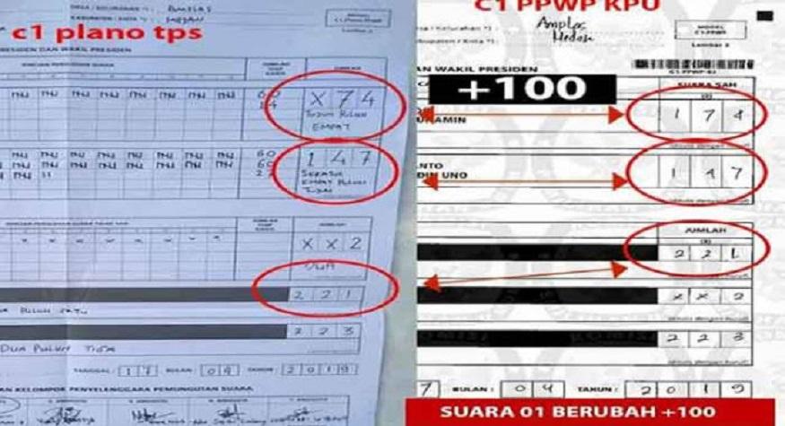 Salah satu contoh manipulasi data di Situng KPU. (foto: eramuslim/*)