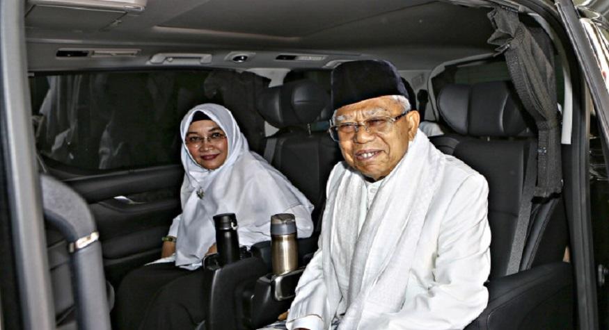 KH Ma'ruf Amin bersama istri. (foto: ist/palontaraq)