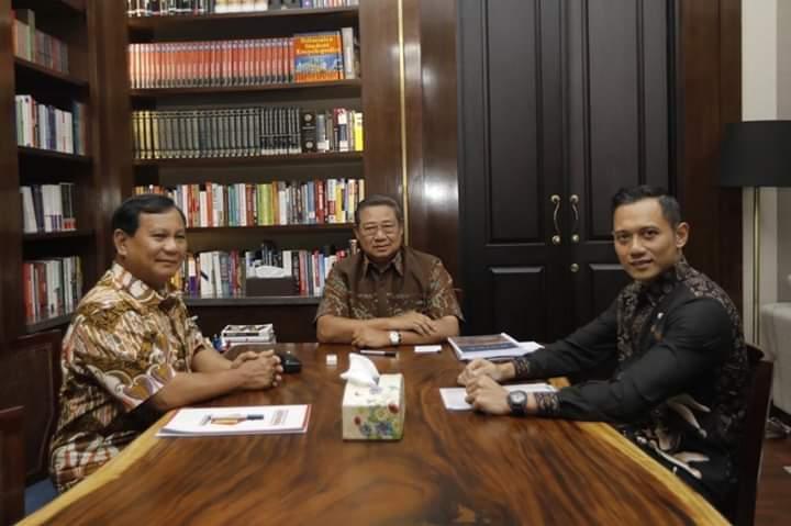 Prabowo, SBY dan AHY di Cikeas. (foto: ist/palontaraq)