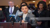 """Foto saat menyampaikan statemen dalam konferensi pers menentang """"racism and hate"""" dari politisi. (foto: dok.pribadi Imam Shamsi Ali)"""