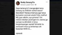Cuit Rocky Gerung. (foto: screenshot ist/palontaraq)