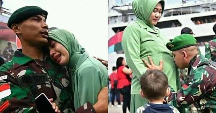 TNI yang ditugaskan ke Papua saat berpamitan ke anak istri. (foto: ist/palontaraq)