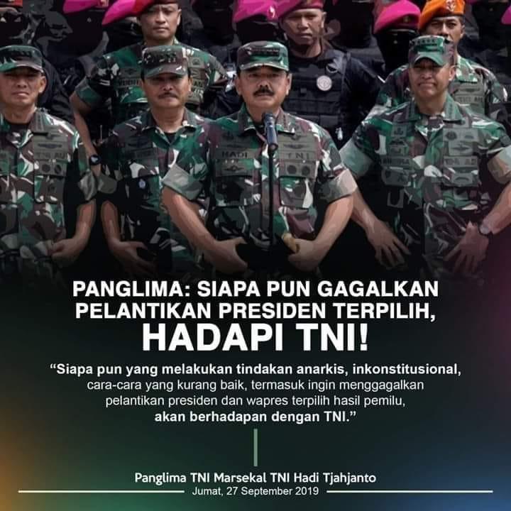 Deklmasi Panglima TNI dan jajaran Kepala Staf TNI. (foto: ist/palontaraq)