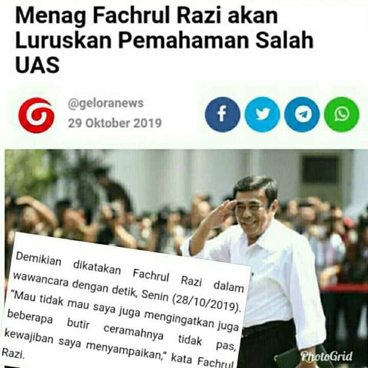 Screenshoot berita tentang Menag Fachrul Razi yang akan luruskan 'pemahaman salah' UAS. (foto: ist/palontaraq)
