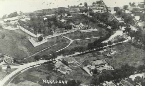 Fort Rotterdam te Makassar vanuit de lucht gezien 1932