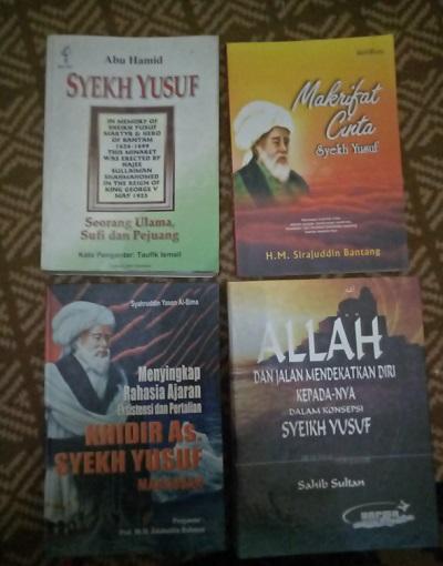 Koleksi buku Penulis tentang Syekh Yusuf. (foto: ist/palontaraq)