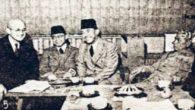 Foto: Ki Bagus Hadikusumo bersama Presiden Soekarno bertemu Tenno Haiko di Tokyo, Jepang.