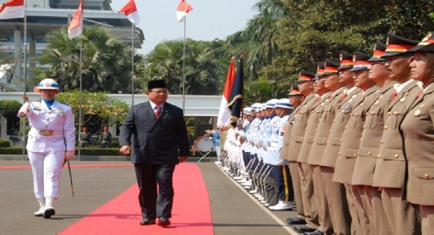 Upacara Jajar Kehormatan Sambut Kedatangan Menhan Prabowo