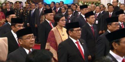 Pelantikan Menteri Kabinet Indonesia Maju. (foto: ist/palontaraq)