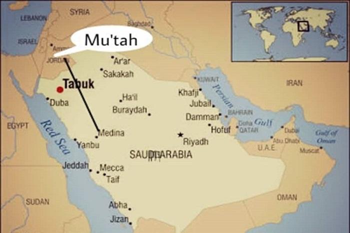 Peta Lokasi Perang Mu'tah. (foto: ist/palontaraq)
