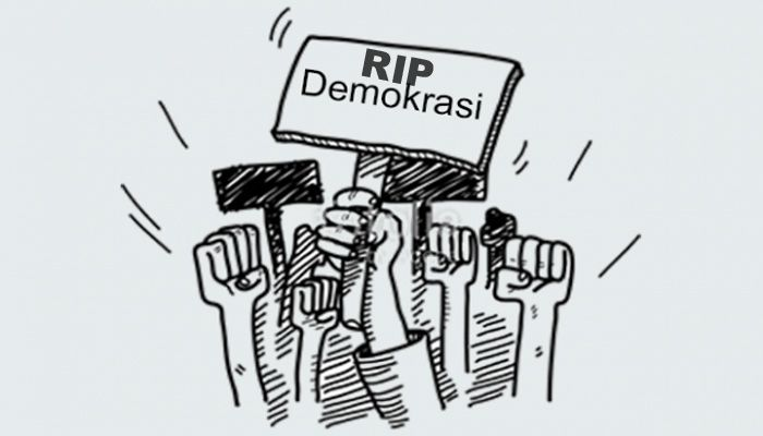 RIP Demokrasi. (sumber ilustrasi: kompasiana)