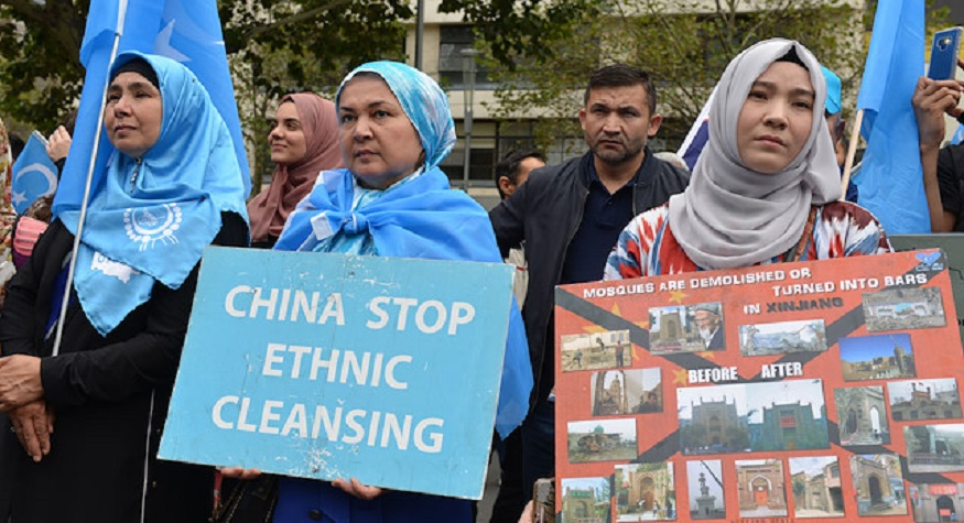 Uyghur protest: China stop Ethnic Cleansing. (foto: ist/palontaraq)