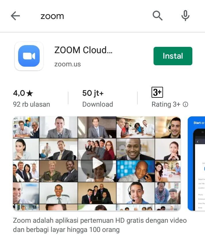 Installa apps Zoom Cloud Meeting. (foto: ist/palontaraq)