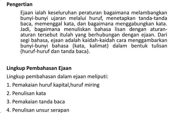 Pengertian Ejaan Bahasa Indonesia dan Ruang Lingkupnya. (foto: ist/palontaraq)