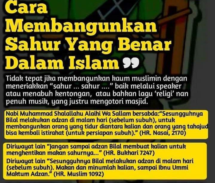 Cara Membangunkan Sahur di Zaman Nabi SAW. (foto: ist/palontaraq)