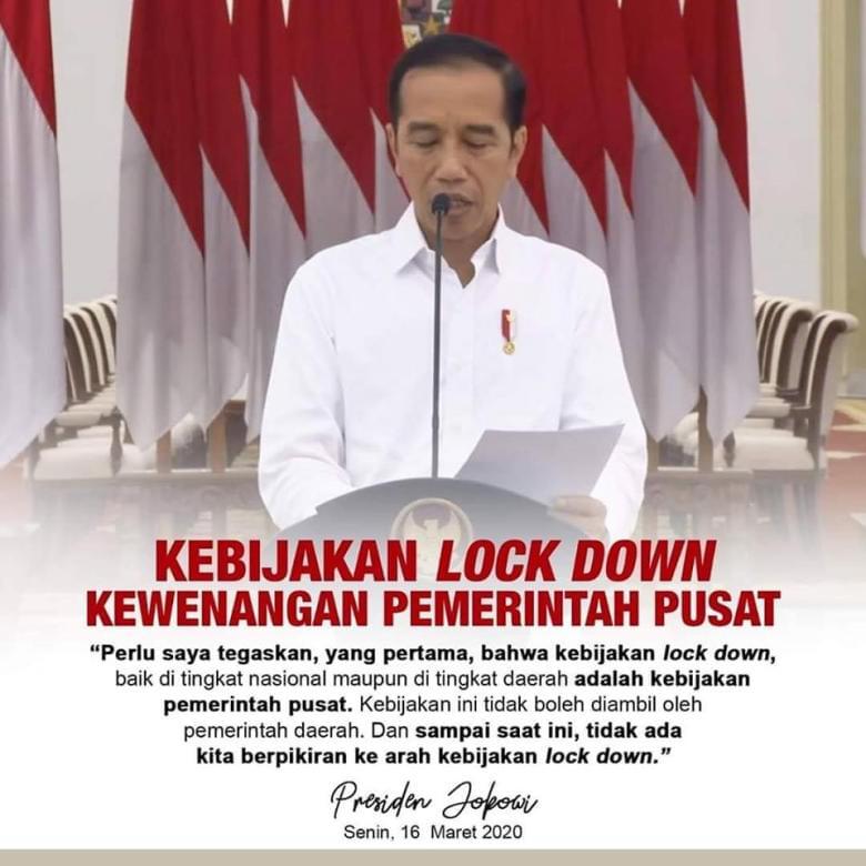 """Kebijakan 'Lockdown"""" ditangan Jokowi. (foto: ist/palontaraq)"""