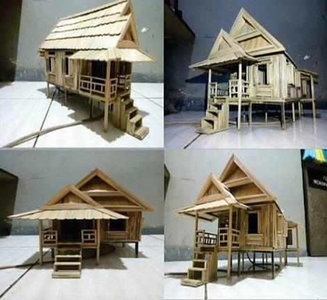 Miniatur rumah dari bambu