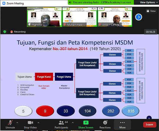 Webinar Persiapan Kompetensi MSDM. (foto: ist/palontaraq)